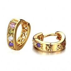 Fashion Colorful Rhinestone Decor 18K Gold Plate Earring