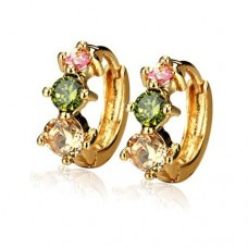 Fashion Colorful Rhinestone Decor 18K Gold Plate Earring
