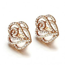 Fashion Colorful Rhinestone Decor 18K Gold Plate Flower Earring