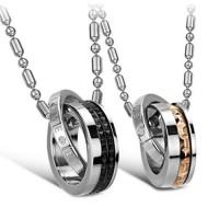 Fashion Rhinestone Decor Circle Pendant Titanium Steel Necklace