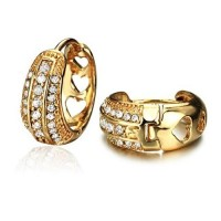 Fashion Rhinestone Decor 18K Gold Plate Earring