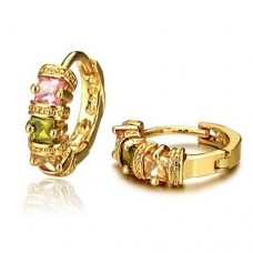 Fashion Colorful Crystal Decor 18K Gold Plate Earring