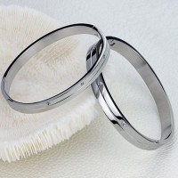 Fashion Rhinestone Decor Titanium Steel Couple Bracelet Bangle