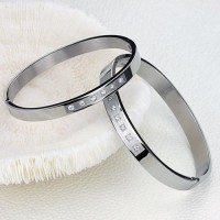 Fashion Rhinestone Decor Titanium Steel Couple Bracelet Bangle