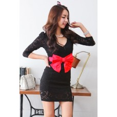 Fashion Deep V Neck Medium Sleeve Black Dress