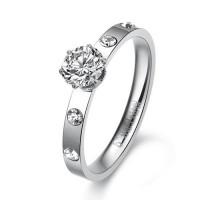 Fashion Rhinestone Decor 316L Titanium Steel Ring 5, 6, 8