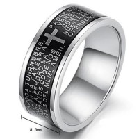 Fashion Cross Style 316L Titanium Steel Ring Black 7, 8, 9, 10