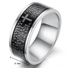 Fashion Cross Style 316L Titanium Steel Ring Black 7, 8, 9, 10
