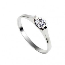 Fashion Rhinestone Decor Titanium Steel Ring Silver