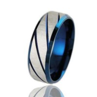 Fashion 316L Titanium Steel Ring Blue 7, 8, 9, 10