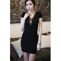 Fashion V Neck Short Sleeve Slim Dress