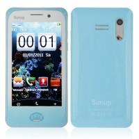 Y222 Phone Dual Band Dual SIM Card Dual Camera FM Bluetooth 3.7 Inch Touch Screen- Blue