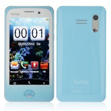 Y222 Phone Dual Band Dual SIM Card Dual Camera FM Bluetooth 3.7 Inch Touch Screen- Blue