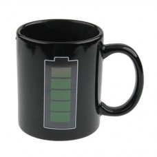 Novelty Battery Color Changing Coffee Tea Mug Cup Black