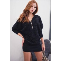 Fashion Long Sleeve V Neck Slim Batwing Dress