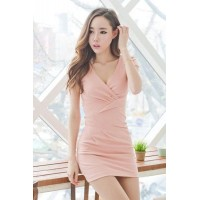 Fashion Cross V Neck Short Sleeve Slim Dress