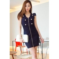 Fashion Deep V Neck Short Sleeve Double Breasted Dress