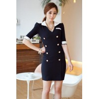 Fashion Medium Sleeve V Neck Slim Dress