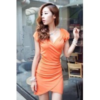 Fashion Short Sleeve V Neck Slim Dress