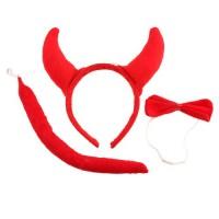 Halloween Costume Red Hair Hoop Tail Bow Tie