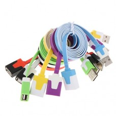 1.5M Flat Slim High Speed USB 2.0 A Male to Female Adapter Extension Cable 6 Colors