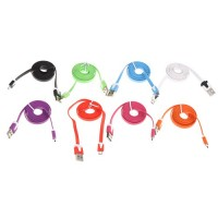 Flat 3FT Flat USB 2.0 Charger Charging To Micro 5 Pin Data Cable For MP3 Cell Phone 8 Colors