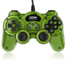 USB Double Shock 2 Game Controller PC Joypad -Green