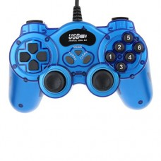 USB Double Shock 2 Game Controller PC Joypad -Blue