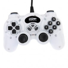 USB Double Shock 2 Game Controller PC Joypad -White