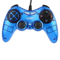 USB PC Dual Shock Game Controller Joypad Blue