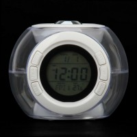 "816  1.6"" LCD Ball Style Projection Clock w/ Thermometer - White"