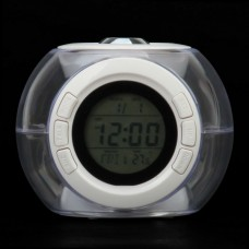 """816  1.6"""" LCD Ball Style Projection Clock w/ Thermometer - White"""