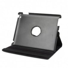 Protective 360 Degree Rotation PU Leather Case for The New iPad - Black