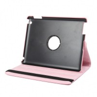 Protective 360 Degree Rotation PU Leather Case for The New iPad - Pink
