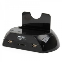 "USB 3.0 2.5""/3.5"" SATA HDD Docking + Full HD 1080P Media Player w/ Remote Control - Black"