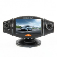 "TX324-2  2.0MP CMOS Dual Lens Wide Angle Car DVR Camcorder w/ 4-IR Night Vision / TF (2.7"" LCD) Black"