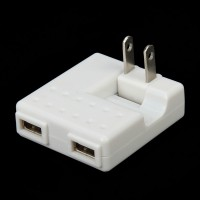 Dual USB AC Power Adapter Charger (2-Flat-Pin Plug)