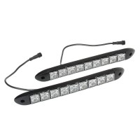 9 x 0.5W LED 80-90LM White Car Flashing Daytime Running Light - Black (DC 12V / Pair)