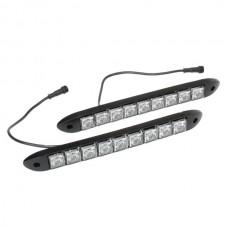 9 x 0.5W LED 80-90LM White Car Flashing Daytime Running Light - Black (DC 12V / Pair)