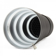 Conical Snoot with Honeycomb for Studio Light - Black + Silver