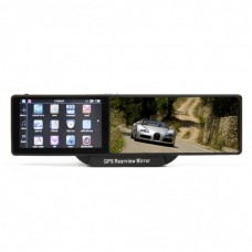 GHE5101 2-in-1 Bluetooth Rearview Mirror + WinCE 6.0 GPS Navigator w/ AV IN / 4GB Europe Map TF Card - Black