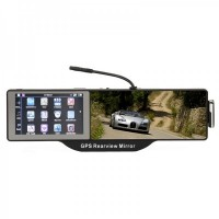 GHB5101 2-in-1 Bluetooth Rearview Mirror + WinCE 6.0 GPS Navigator w/ AV IN / 4GB Brazil Map TF Card - Black