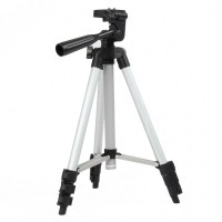 KT-1015 Retractable Aluminum Alloy 4-Section TriPod Stand for Camcorder DSLR Camera - Silver + Black