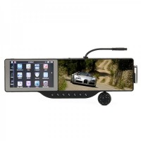 "GHXU5105 5"" WinCE6.0 GPS Rearview Mirror w/Bluetooth/AV IN/HD IR Camera + 4GB TF USA/Canada/Mexico Map Card"