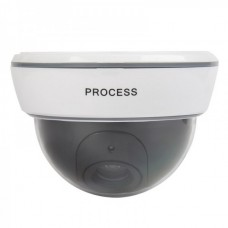 1500 Realistic Dummy Surveillance Security Camera w/ Flashing Red LED Light - White
