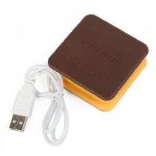 Creative Biscuit Style USB 4-Port Hub - Coffee + Yellow