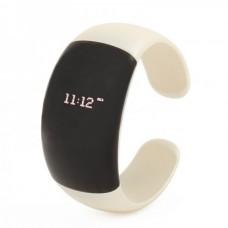 Stylish Bluetooth V2.1 Bracelet w/ Vibration Function + Digital Time - White + Black