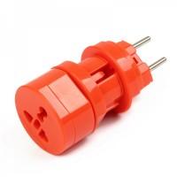 Universal Travel Power Plug Adapter - Orange (US / EU / UK)