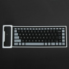 Waterproof Silicone Rechargeable Bluetooth 3.0 Keyboard - Black