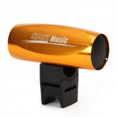 Portable Aluminum Alloy Casing USB Rechargeable TF Slot MP3 Player Speaker with FM - Golden (2 GB)